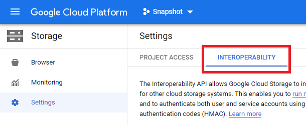google cloud settings interoperability