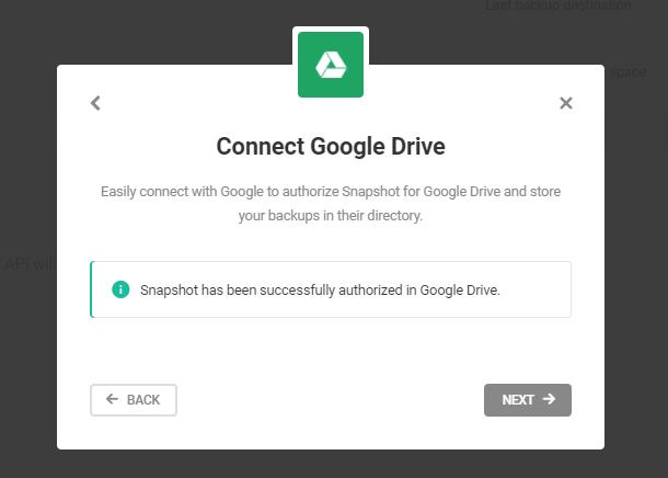 google drive authorization successful