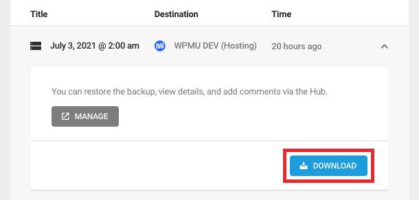 Hosting Backup details