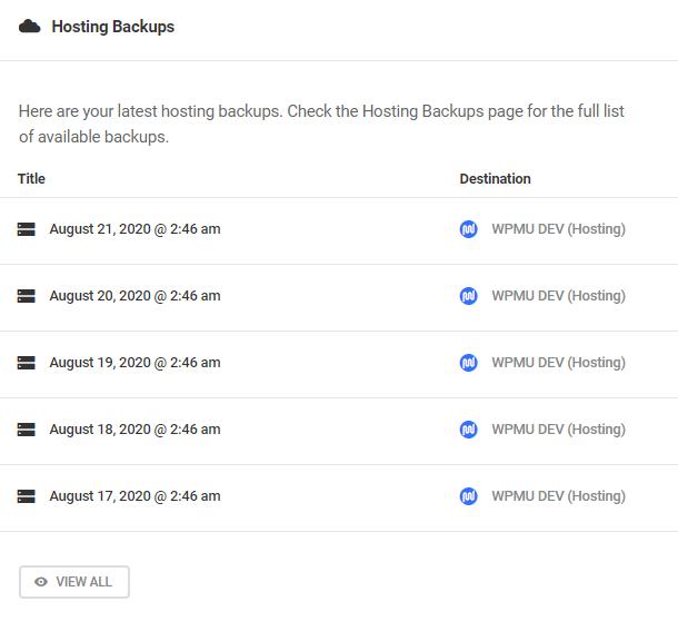 hosting backups dashboard overview
