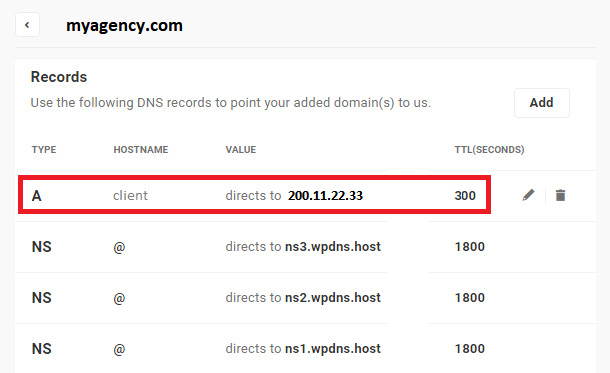 example of newly added dns a record