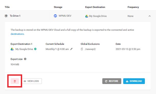 delete backup button