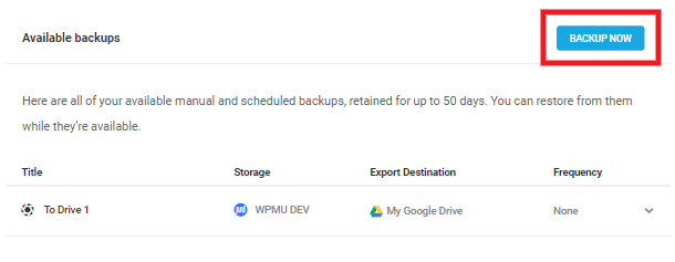 available backups backup now button