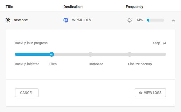 Manual backup progress in Snapshot 4.0