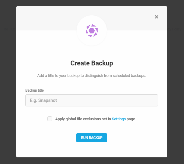 Enter a title for a manual backup in Snapshot 4.0