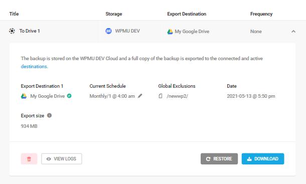 Snapshot backup details