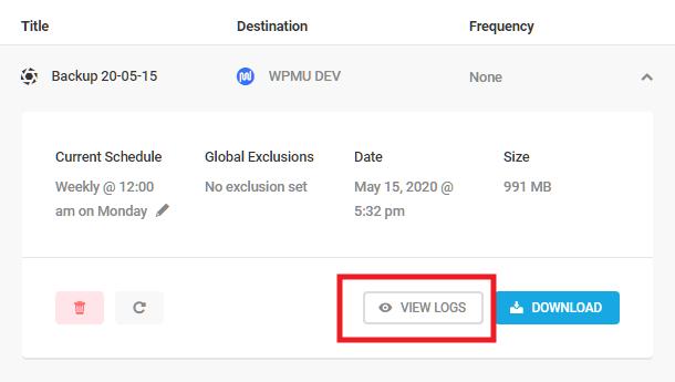 View backup logs in Snapshot 4.0