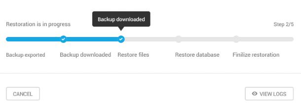 Progress of backup restore in Snapshot 4.0