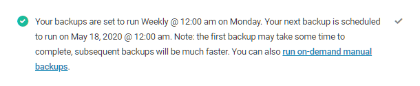 Backup schedule confirmation in Snapshot 4.0 setup wizard