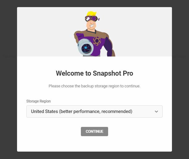 Select storage region in Snapshot 4.0 setup wizard