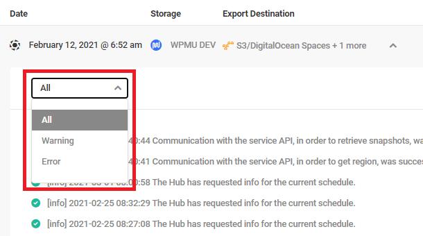 Sort backup logs in Snapshot 4.0