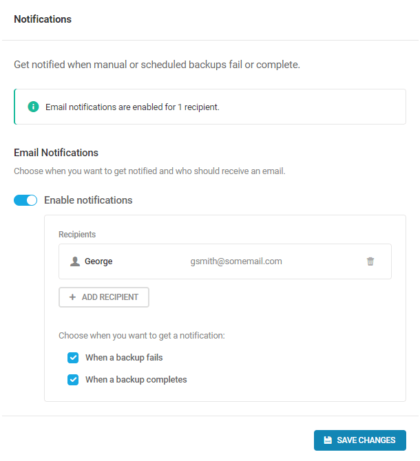 email notifications settings for backups