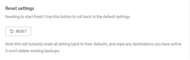 Reset settings in Snapshot 4.0