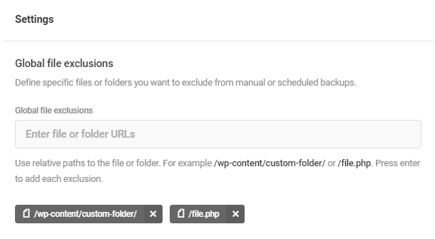 Global file exclusions in Snapshot 4.0