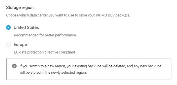 Select WPMU DEV cloud storage region in Snapshot 4.0