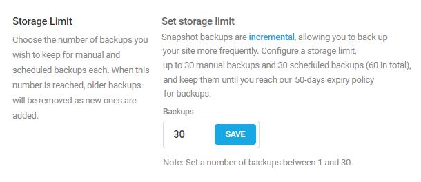 Set storage limit in Snapshot