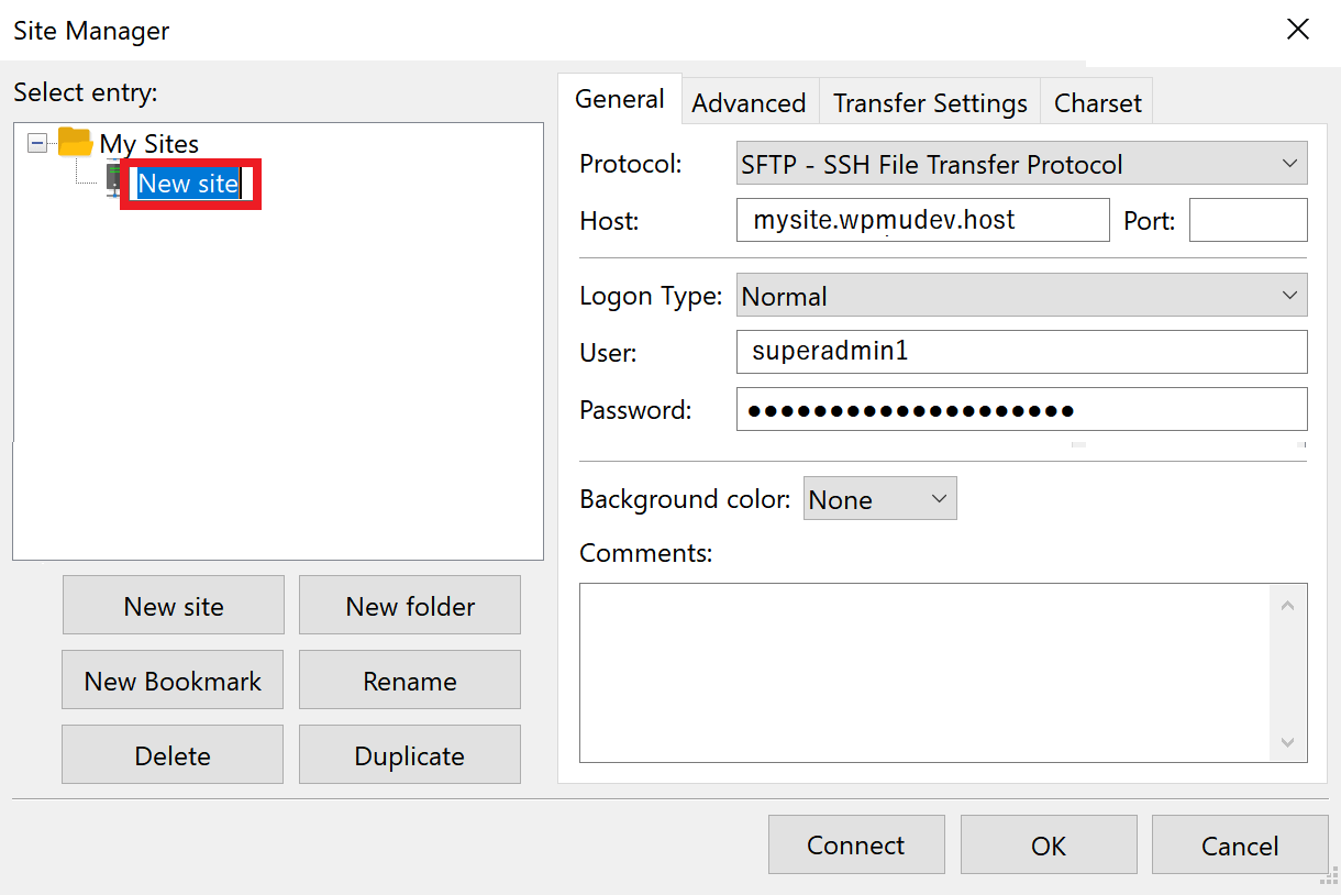 add current connection filezilla
