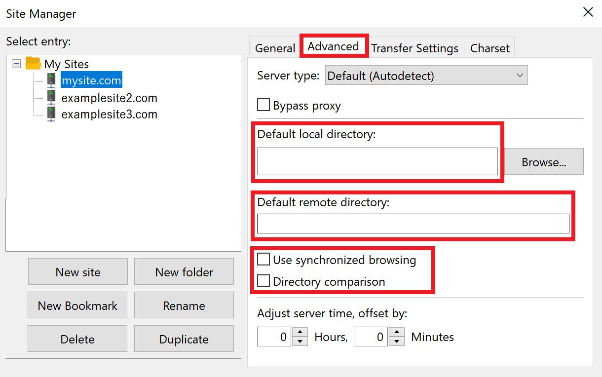 filezilla advanced tab