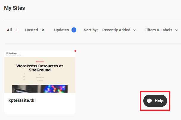 help button on hub page