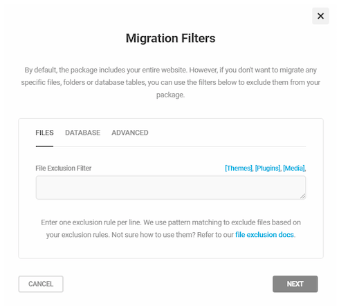 An example of the Migration Filters feature in action