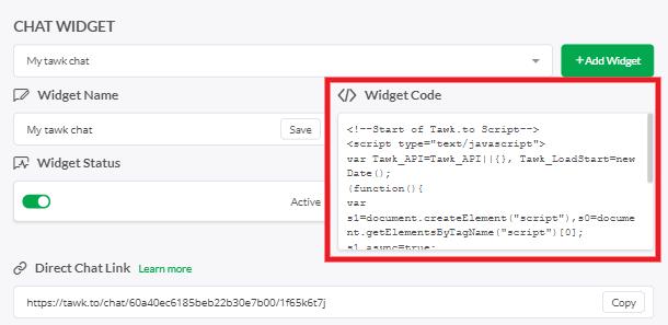 Copy widget code from Tawk.to account