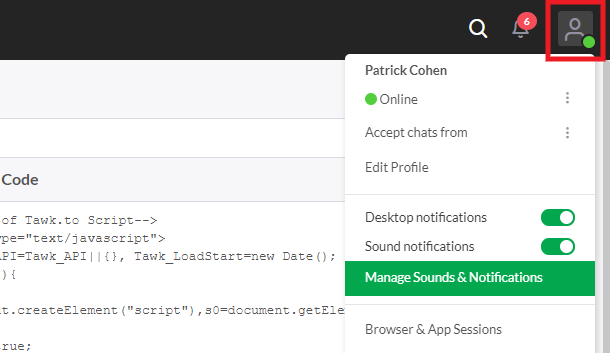 Manage notifications in Tawk.to account