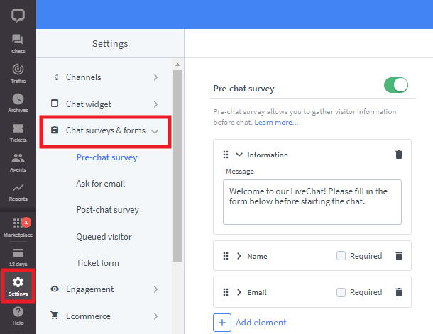 Edit widget forms in LiveChat account