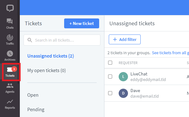Managing tickets in LiveChat account