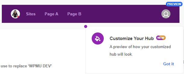the hub client preview menu bar