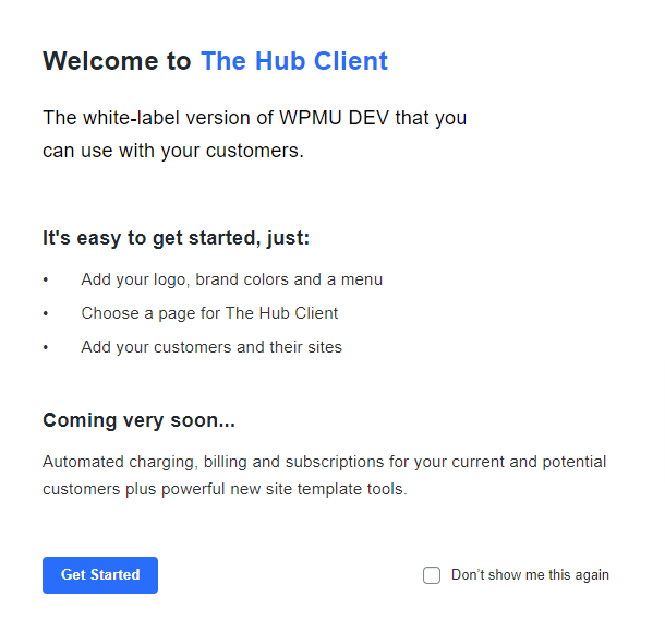 the hub client welcome modal