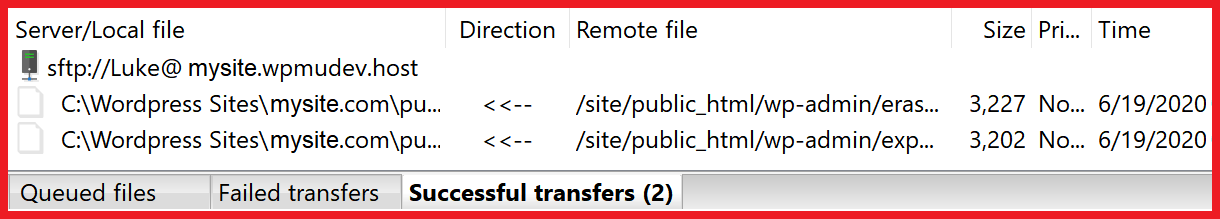 filezilla transfer queue