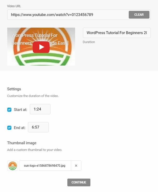 Custom video options in Integrated Video Tutorials