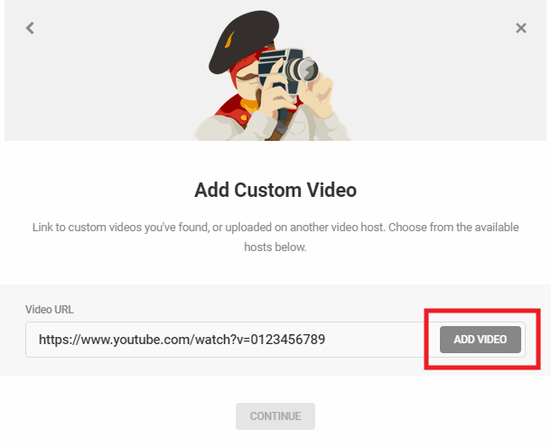 Enter URL to custom video in Integrated Video Tutorials