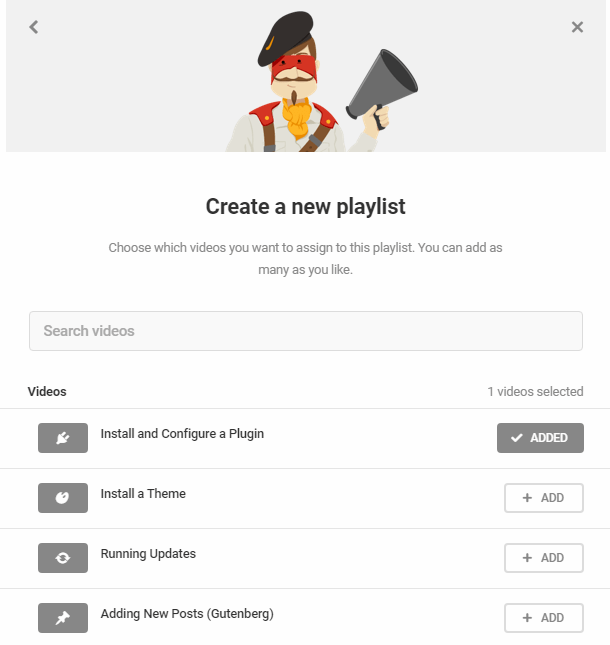Select videos to add to custom playlist in Integrated Video Tutorials