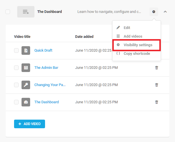 Playlist visibility settings in Integrated Video Tutorials