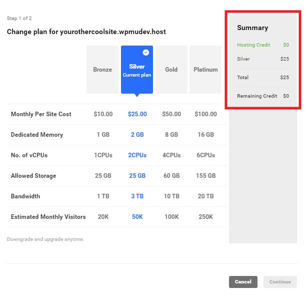 WPMU DEV hosting credit summary for added site