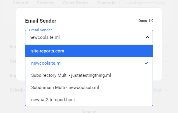 Change email sender for a Hub report