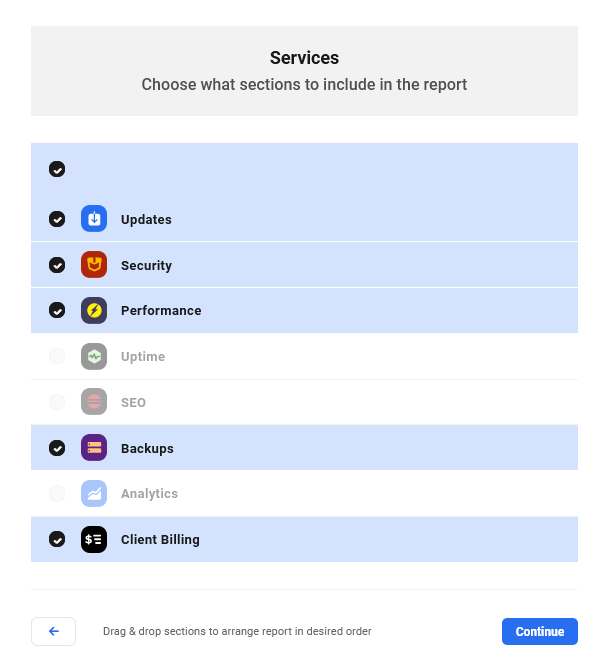 Services available to include in report