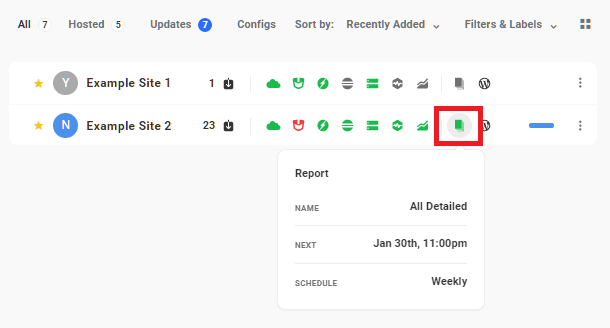 Green Reports icon in Hub