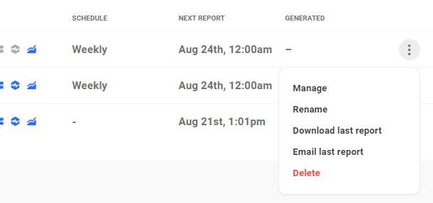report dropdown menu