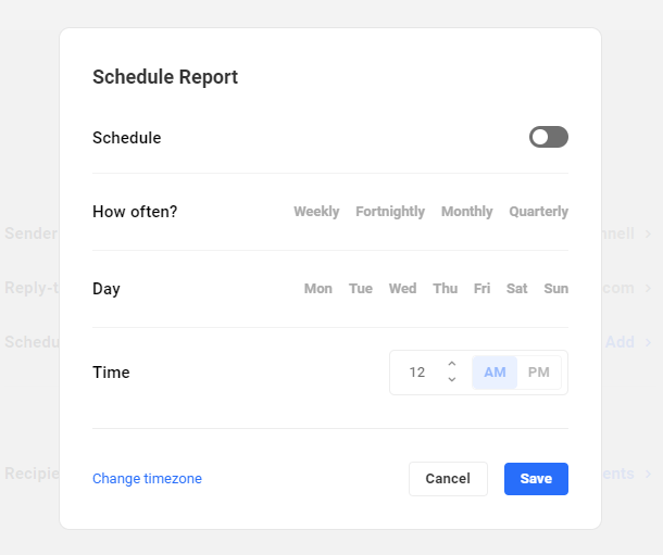schedule report settings