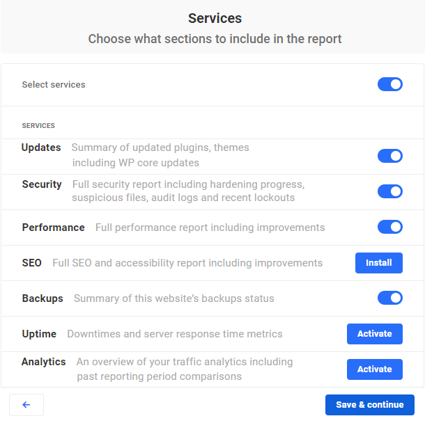 services included in report
