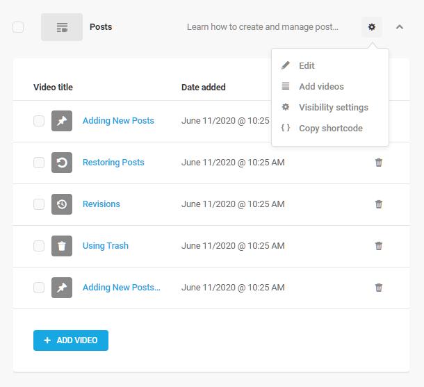 Playlist details in Integrated Video Tutorials