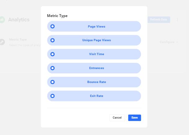 Hub2 Analytics metrics options