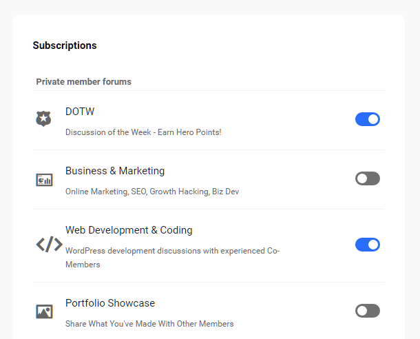 Hub2 Community subscriptions