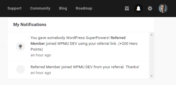 Hub2 notification for paid referral