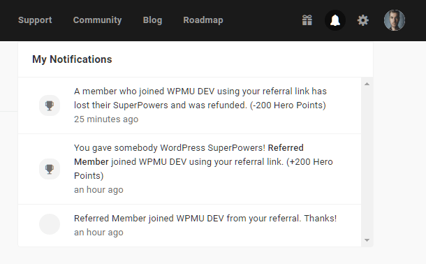 Hub2 notification for refunded referral