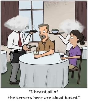 A cartoon of a food server with a cloud head