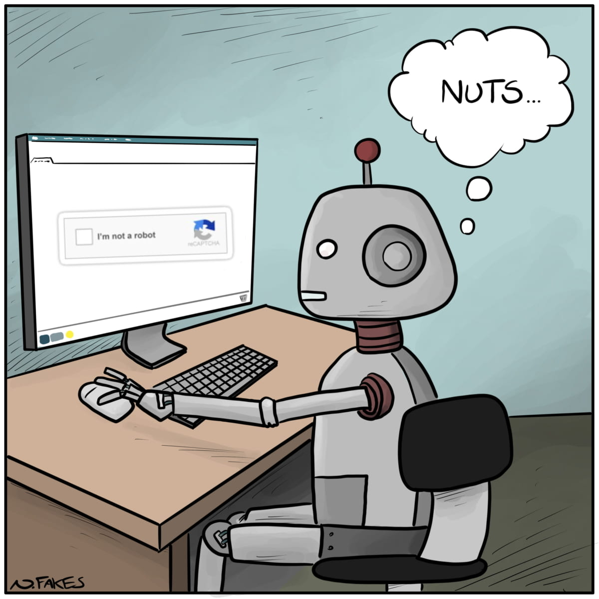 Funny image of a robot trying to do a captcha