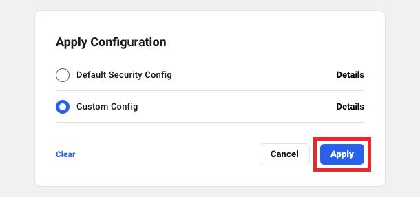 apply config modal